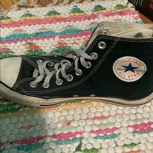Black Converse High Tops Size 9